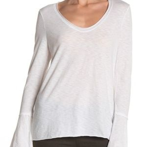 Michael Stars Soft V-Neck Bell Sleeve Top white